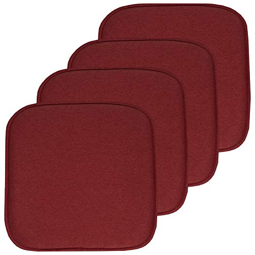Sweet Home Collection Chair Cushion Memory Foam Pads Honeycomb Pattern Slip Non Skid Rubber Back Rounded Square 16' x 16' Seat Cover, 4 Pack, Charlotte Wine