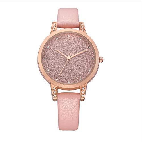 Cqing Wish Reloj señoras Relojes de Cuarzo Esfera Mate Temperamento de Negocios Rhinestone Elegante Simple Damas Puntero de Cuero Reloj de Cuarzo Reloj Femenino,Rosado