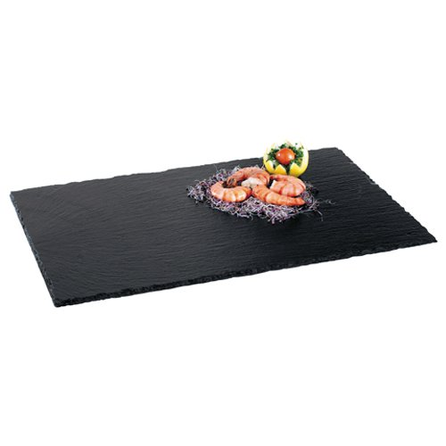 Ilsa - Assiette plate rectangulaire, 26 x 16 cm, en ardoise naturelle