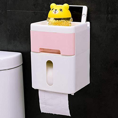Tenedor de papel higiénico Planes de papel autoadhesivo Planos de rack Titular de tejido Tablero Tipo de plástico Tipo de montaje en pared Dispensador de baño de la bandeja de inodoro [cajón] -A 6x5x8