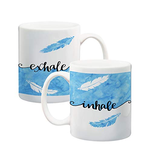 Inhale Exhale Blue Feather Watercolor Inspirational Quote Coffee Mug Ceramic Cup with Original Art Yoga 11 oz Standard Size