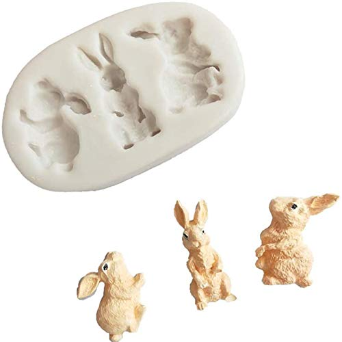 Easter Rabbit Silicone Mold, 3 Cavities Non Stick Bunny Shaped Candy Mold 3D Animal Fondant Molds Easter Day Baking Mold Gum Paste Polymer Clay Resin Sugar Craft Cake Cupcake Decorating Supplies (1PC)