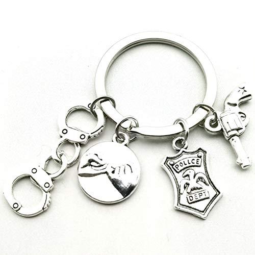 N/ A Beste vrienden politie mini handboeien handhaak hand politie badge sleutelhanger sieraden vriendschap combinatie sleutelhanger