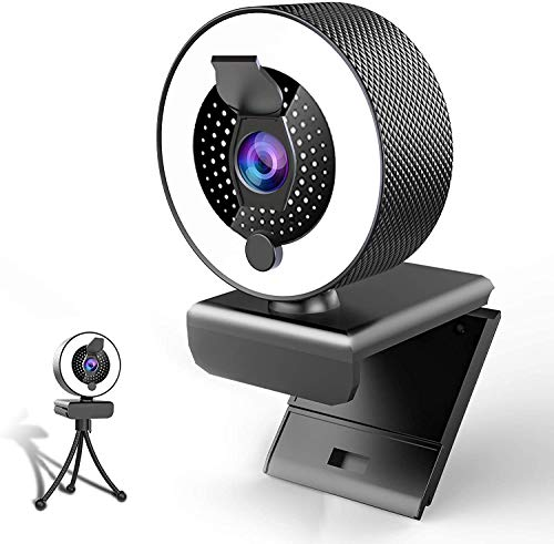 2k Webcam with Microphone Ring Light-HD Web Cam with Privacy Cover&Tripod for Desktop/Laptop/PC/MAC,Web Cameras for Computers, Skype, YouTube, Zoom, Xbox One, Studying, Conference and Video Calling