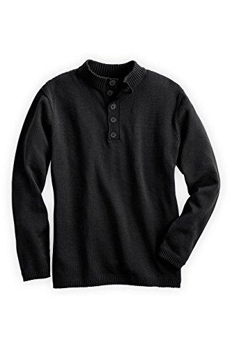 Fair Indigo Fair Trade Organic Men's Button Pullover Sweater (XL, Black)