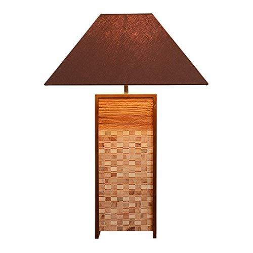 Lámpara Mesa Tabla de madera Lámpara asiática de costura retro de madera y tela rectangular hecha a mano Pantalla de cabecera Lámpara de mesa adecuados for sala de estar Dormitorio restaurante Lampara