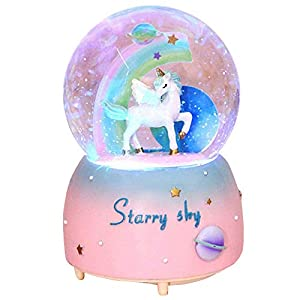 Unicorn Snow Globe for Kids, VECU Snow Globe with Music Perfect Unicorn Music Box for Girls, Granddaughters Babies…