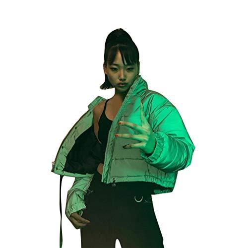 Efanhony Damen Warme Winterjacke Reflektierende Parka Jacke Wintermantel mit Kapuze Classics Daunenjacke Hooded Puffer, Steppjacke gefüttert Kapuzenpullover Adult Sweatshirt Grau (M, Grau)