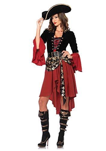 Leg Avenue 85214 - Set per travestimento da pirata, Donna, 2 pz, S, Nero/Rosso