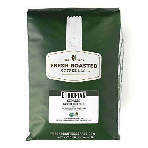 Fresh Roasted Coffee LLC, Green Unroasted Organic Ethiopian Sidamo Coffee Beans, 5 Pound Bag