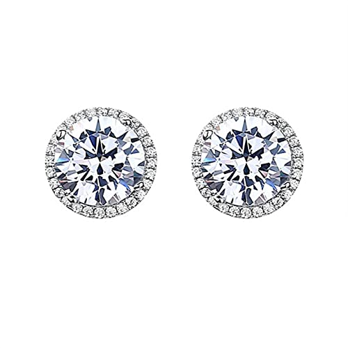 CHENLING Clásico 925 de plata de ley de corte redondo diamante de laboratorio simular moissanita pendientes de piedras preciosas/collar/anillo de boda conjunto de joyería fina