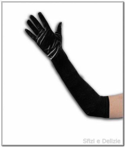 guanti lunghi Guanti neri lunghi in microfibra elasticizzati cm 48