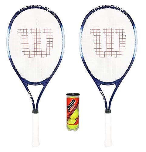 Wilson Tour Slam Lite x2 Raquetas de Tenis para Adultos + 3 Pelotas de Tenis