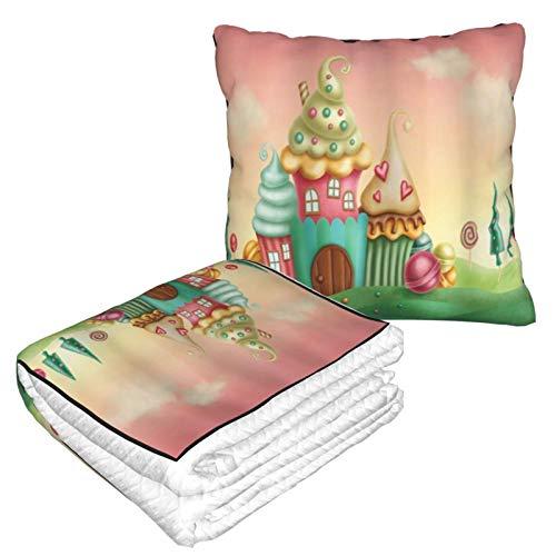 XINGAKA Manta de Viaje súper Suave,Casas de fantasía de Cupcakes Dulces Dulces en pastizales Niños Lámina artística,Manta Plegable,Almohada cómoda