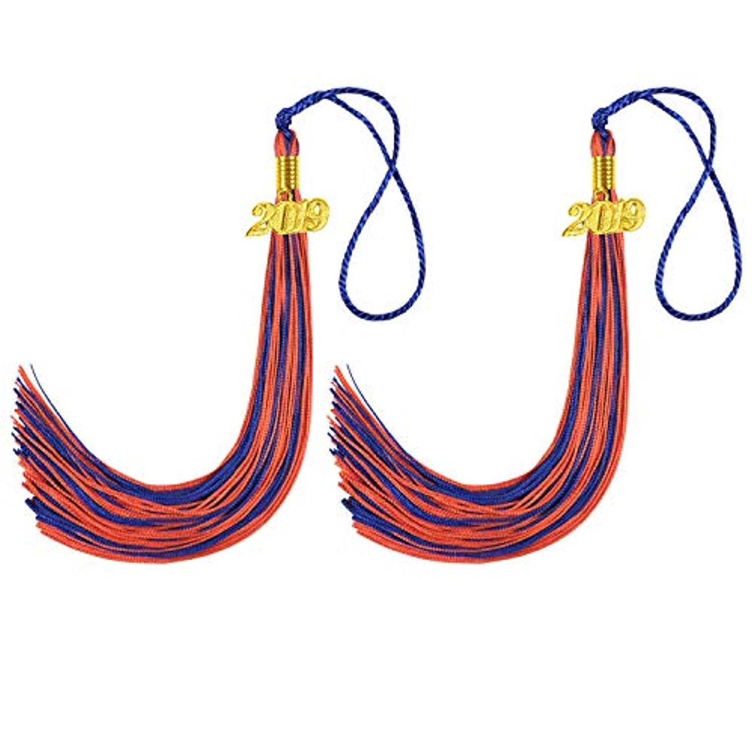 2 Pcs Graduation Cap Tassel, Kissbuty Uniforms Graduation Tassel with 2019 Gold Year Charm for Graduation Photography Party Double Color (Royal Blue and Orange)