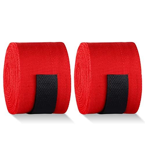Fasce Boxe Bendaggi Elastiche 4.5M, TAOPE Bende Guanti Interni Hook n 'Loop Protezione per Mani Polsi Pugilato Bendaggi MMA Arti Marziali e Allenamento Sottoguanti Sparring Muay Thai Kickboxing -Rosso