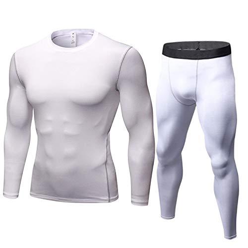 YZstore Mens Quick Dry Fitness Compressie Base Layer Skin Panty met lange mouwen Top en Broeken Set