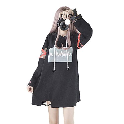 Himifashion Frauen Hoodies Harajuku Schwarz Lange Hoodie Kleid Baumwolle für Damen (L, Black)