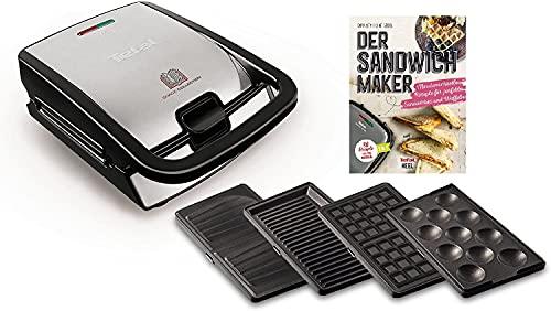 Tefal Snack Collection Sandwichtoaster Waffeleisen inkl Rezeptbuch, spülmaschinengeeignete & abnehmbare Platten, Antihaftbeschichtung, 700 Watt, Edelstahl, wärmeisolierte Griffe, Anti-Rutsch-Füße