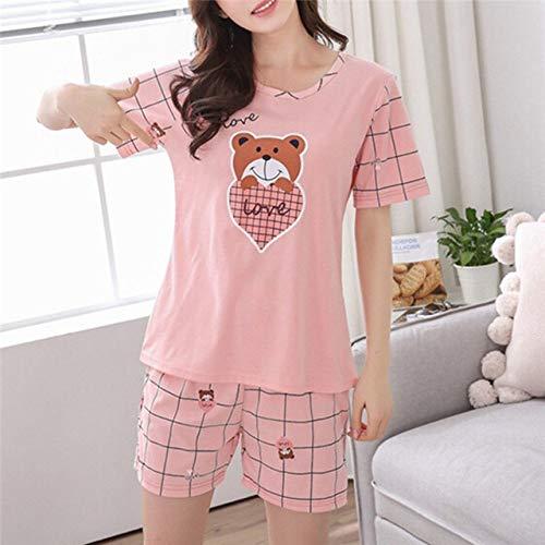 JFCDB Zomer pyjama,Zomer jong meisje korte mouw pyjama voor vrouwen Nachthemd Casual Home Service korte nachtkleding M-2XL, hart beer, M