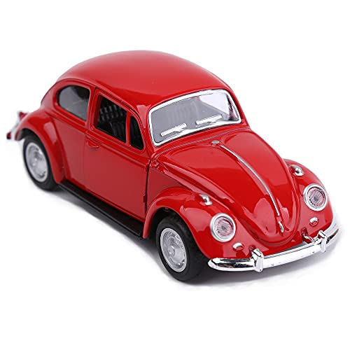 Classic 1967 Volkswagen Vw Beetle Bug Vintage 1/32 Scale Diecast Metal Pull Back Action Drives Car Forward Car Model Toy For Gift/Kids (RED)