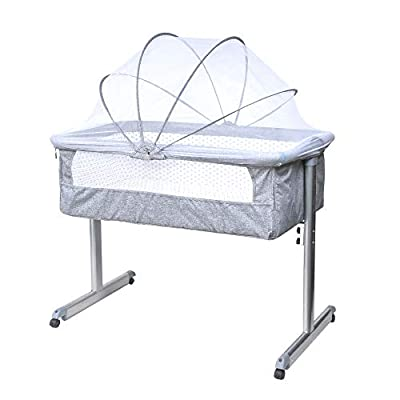 Bedside Bassinet,4HOMART Bedside Sleeper Portable Baby Crib Side Sleeper with Firm Mattress, Breathable Mesh and Mosquito Net