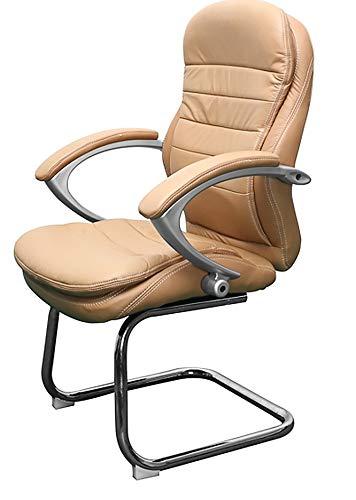 Leder Besprechungsstuhl Bergamo in Beige hell Konferenzstuhl Armlehne Jet-Line Büro Möbel Stuhl Homeoffice Home Office