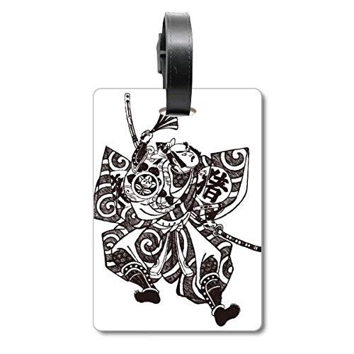 Kimono de Cultura Tradicional Japonesa, Etiqueta de identificación de turista, para Maleta de Crucero Samurai