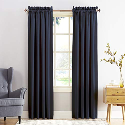 "Sun Zero Barrow Energy Efficient Rod Pocket Curtain Panel,Navy Blue,54"" x 84"""