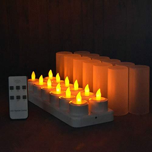 LED-ljus uppsättning med 12 fjärrstyrda LED-ljus flimrande uppladdningsbara värmelampor/elektronik ljuslampa jul bröllop bar