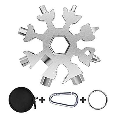 Snowflake Multitool, 1 Piece 18-in-1 Stainless Steel Snowflake Standard Multitool, Snowflake Wrench with Key Ring, Carabiner Clip and Gift Bag (Silver)