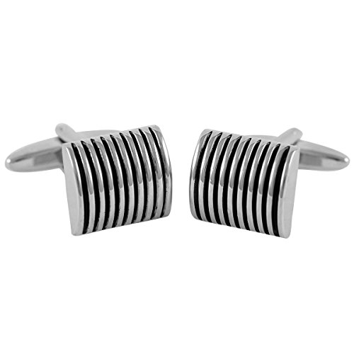 Lindenmann Cufflinks/Cuff Buttons, Silvery with Lacquer Ornament in Black, Gift Box, 2638