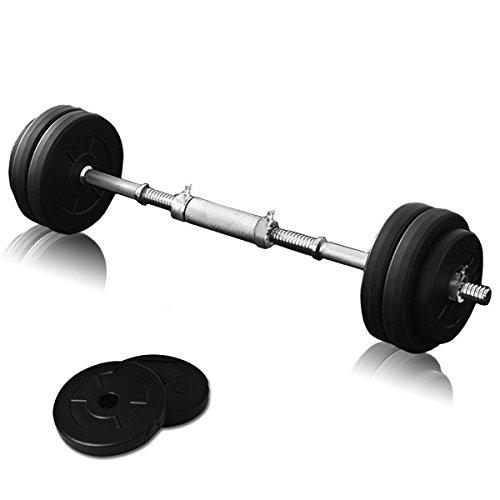 FIELDOOR セメントダンベル 10kg×2セット ブラック シャフト径28mm 【シャフト連結ジョイント付】 【筋力トレーニング/ダイエット/シェイプアップ】