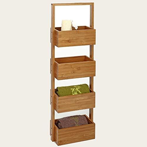 Mueble de almacenamiento con 4 cestas de bambú.