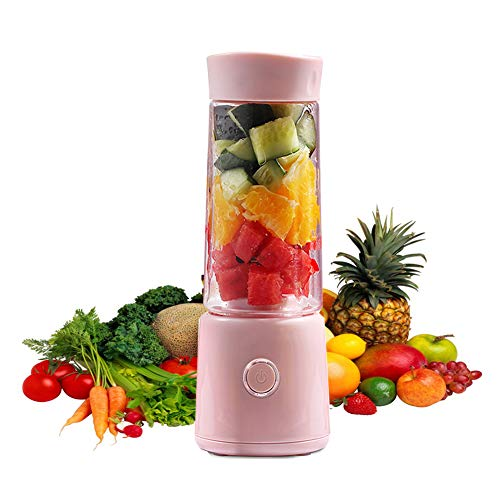 XUE-BAI 400MLJuicer Cup,Mini Portable Juicer Blender Extractor with USB Cable and 4PCS Blades,Household Fruit Mixer for Baby Travel,Easy to Carry,Easy to Clean/Pink