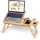 AYNEFY Mesa de sofá para computadora portátil, Escritorio PORTÁTIL PORTÁTIL Mesa de Cama de bambú Bandeja de Servicio para Libros de Lectura para R Desayunar para Ver películas