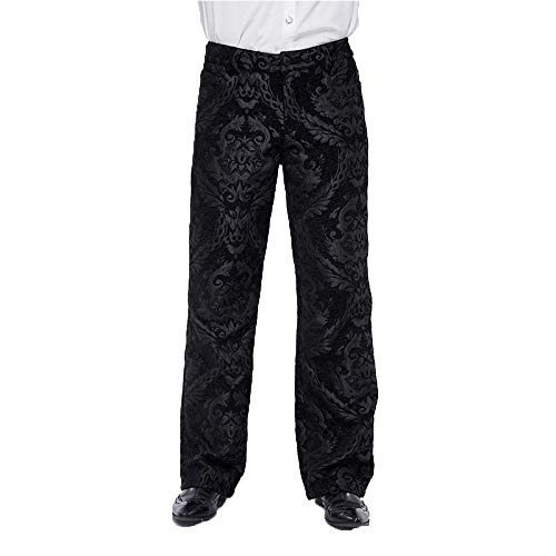 Devil Fashion Men Pants Gothic Punk Victorian Casual Retro Prints Mediaeval Loose Wide Leg Pants (S) Black