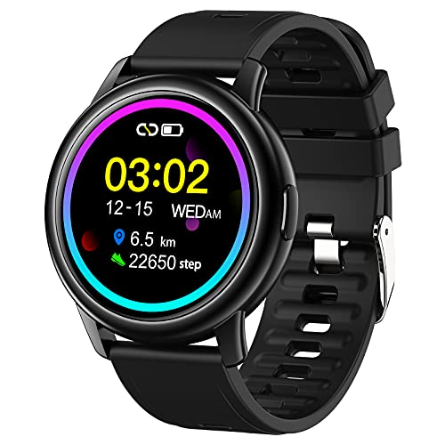 QFSLR Smartwatch, Reloj Inteligente Impermeable IP68 con Monitor De Frecuencia Cardíaca Monitor De Presión Arterial Monitoreo De Oxígeno En Sangre Reloj Deportivo para Android iOS,Negro