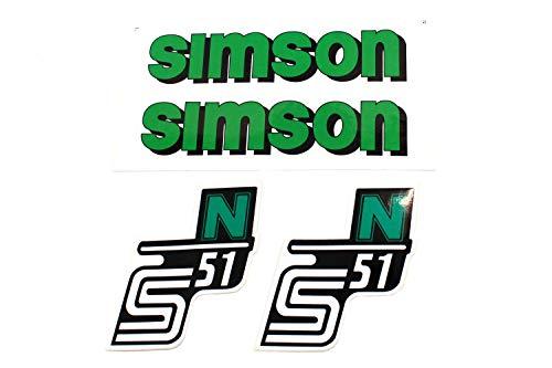 BISOMO SET Aufkleber Klebefolie SIMSON S51 N - GRÜN - für Tank und Seitendeckel