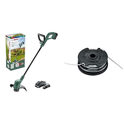 Bosch Akku Rasentrimmer EasyGrassCut 18-230 (1x Akku, 18 Volt System, Schnittkreisdurchmesser 23 cm, im Karton) & Home and Garden F016800351 Ersatz-Trimmerfaden, schwarz