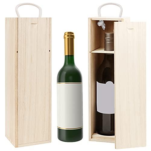 BELLE VOUS Caja Madera para Vino (Pack de 2) 34,4 x 9,5 x 9,5 cm Caja Vino/Champan Individual con Asa – Set de Cajas para Botellas Regalo para Fiesta de Cumpleaños, Bodas, Casa Nueva