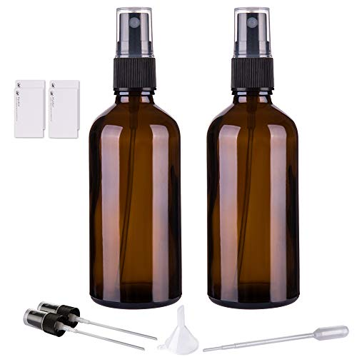 Amber Glass Spray Bottles for Essential Oils, 4oz Empty Small Fine Mist Spray Bottle 2 Pack