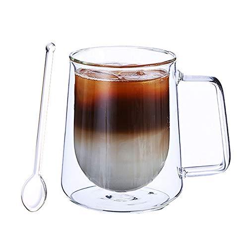 ANSUG Tazza di caffè Doppio Vetro con Cucchiaio di Vetro Bicchieri Resistente al Calore Bicchieri Trasparenti con Manico per tè, caffè, Cappuccino, Birra
