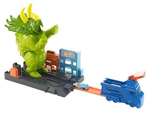 Hot Wheels City Playset Pista Attacco del Triceratopo con Lanciatore e Macchinina, Giocattolo per Bambini di 4 + Anni, GBF97