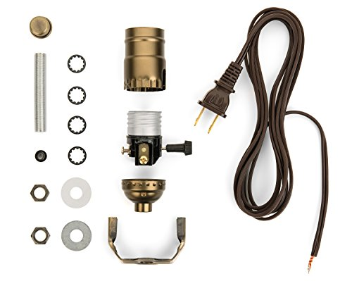 Lamp Light Kit - Make, Repurpose or Repair an Old Lamp with a DIY Lamp Kit - Antique Brass Socket - 12 Foot Long Brown Cord - Lamp Rewiring Kits Allow You to Build Your Own Lamp