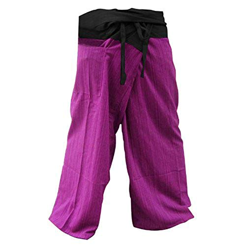 kittiya 2 Tone Thai Fisherman Pants Yoga Trousers Free Size Plus Size Cotton Drill Striped Red-violet and Charcoal