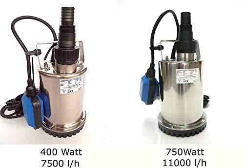 Flachsaugende Tauchpumpen Leistung 400 Watt od. 750 Watt aus Edelstahl INOX Abschalthöhe 5mm inkl. Schwimmerschalter, Fördermenge: 7500l/h od. 11000l/h, Spannung: 230V / 50Hz, (400 Watt INOX)