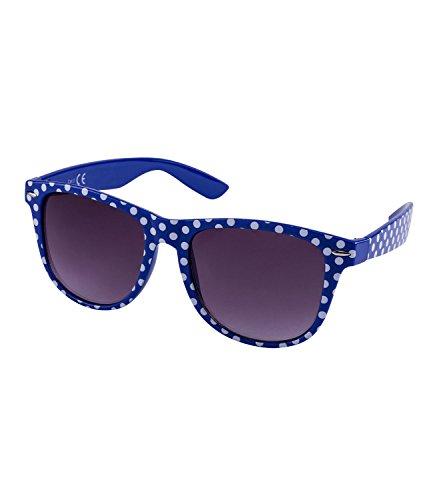 SIX Retro Sonnenbrille in Dunkelblau mit weißen Punkten und Gläsern mit Grau-Verlauf (324-247)