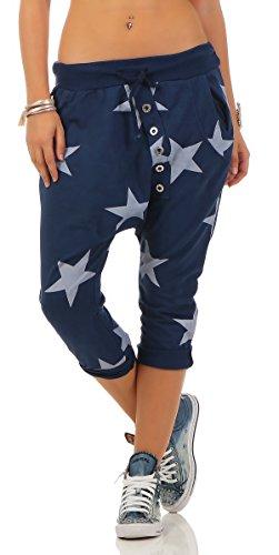 Mississhop 167 Shirtella Damen Capri Hose Haremshose Ballonhose Pluderhose Pumphose Aladinhose Sommerhose Sternen Print Stern Muster Baggy Pants 3/4 Blau