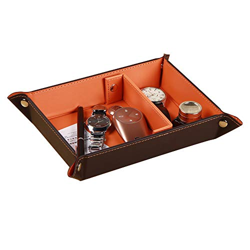 YAPISHI Valet Tray for Men Leather Big Entryway Key Dish Bedside Catchall Bowl 2 Dividers Travel Nightstand Organizer Caddy for Wallet Coins Dice Watch Candy, Sundries Holder for Beside Table (Orange)
